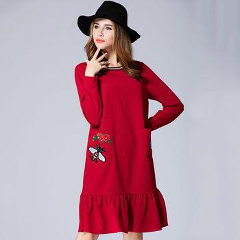 【Jisen】重工貼繡荷葉裙針織洋裝