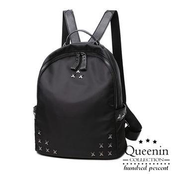 DF Queenin日韓 - 字母X輕尼龍鉚釘款後背包