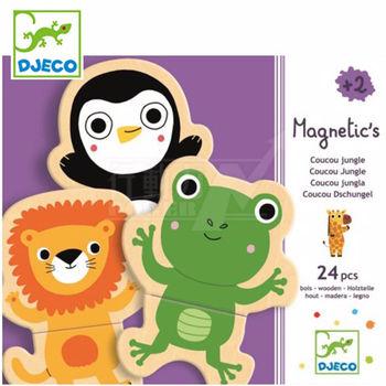 法國《DJECO-智荷》磁鐵拼圖-淘氣動物(24片)