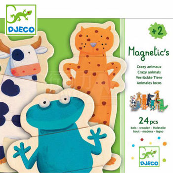 法國《DJECO-智荷》磁鐵拼圖-調皮動物園(24片)