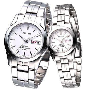 SEIKO 簡約時尚藍寶石鏡面典藏對錶-白(SGG713P1/SXA097P1)