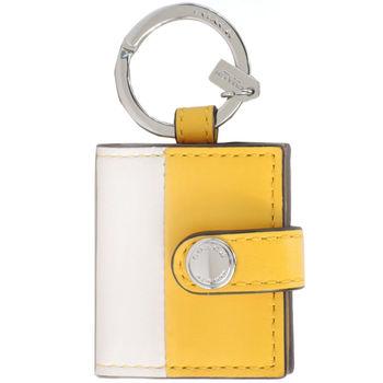 COACH 迷你相片夾皮革鑰匙圈(黃/白)