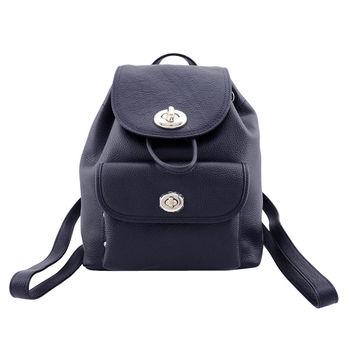 COACH專櫃款 轉扣荔枝皮革前口袋後背包(小/任選)