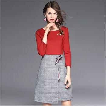 (現貨+預購 RN-girls)-歐美秋裝精品針織拼接毛呢修身顯瘦連身裙