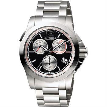 LONGINES Conquest Jumping 馬術障礙賽計時腕錶-黑/41mm L37014566