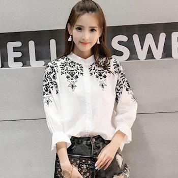 Bubble❤CoCo  立領純色精緻刺繡百搭雙色襯衫UB366現+預