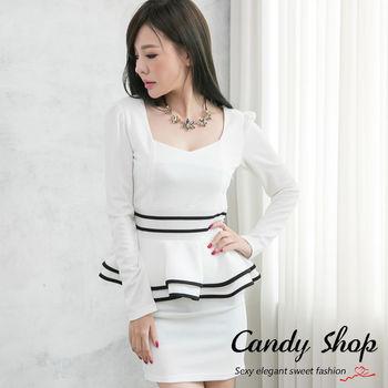 Candy 小鋪     OL氣質款假兩件式荷葉擺上衣窄裙套裝(白色/黑色)-0094501