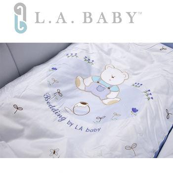 【美國 L.A. Baby】田園巴黎純棉七件式寢具組(M)(MIT 藍色)