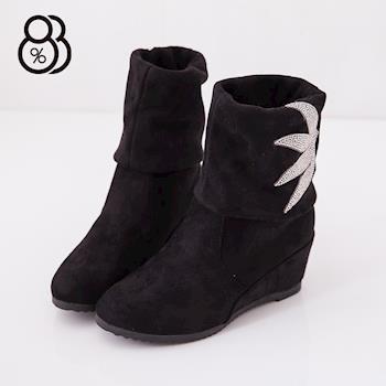 【88%】葉子水鑽 兩穿可反摺 楔型 中筒靴 靴子(黑色)