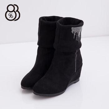 【88%】水鑽 仿麂皮絨布  兩穿反摺 隱形內增高 中筒 靴子(黑色)