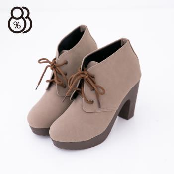 【88%】MIT台灣製 嚴選質感女神繫帶防水台粗跟短靴(2色)