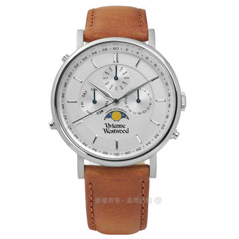 Vivienne Westwood / VV164SLTN / 典雅紳士三環真皮手錶 銀x咖啡 40mm