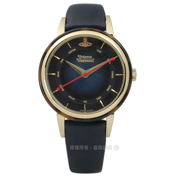 Vivienne Westwood / VV158BLBL / 放射光影琥珀真皮手錶 深藍x琥珀框 36mm