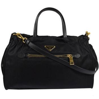 PRADA 1BA843 經典三角LOGO尼龍帆布手提兩用包.黑
