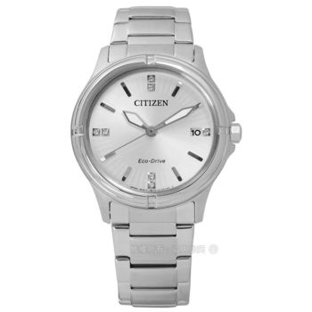 CITIZEN 星辰表★贈皮錶帶 / FE6050-55A / 知性簡約日期光動能不鏽鋼手錶 銀色 34mm