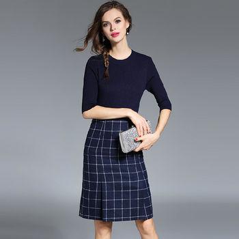 【M2M】圓領針織五分袖上衣格紋半裙兩件套