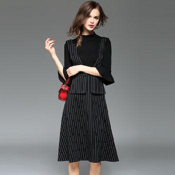 【M2M】黑色針織七分袖上衣條紋吊帶裙兩件套