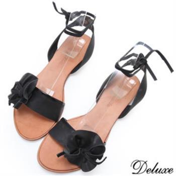 【Deluxe】全真皮蝴蝶結皮花綁帶悠閒涼鞋(黑)