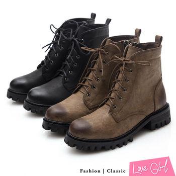 ☆Love Girl☆復古燒色6孔綁帶軍裝短靴