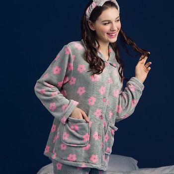 【皮爾卡登】鐵灰花花舒適法蘭絨居家睡衣褲