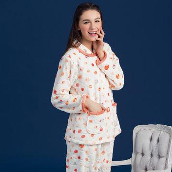 【皮爾卡登】純白彩點舒適法蘭絨居家睡衣褲