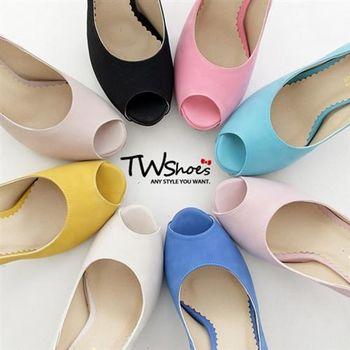 【TW Shoes】自訂款渲染霧感皮面魚口高跟鞋(K111D0974)
