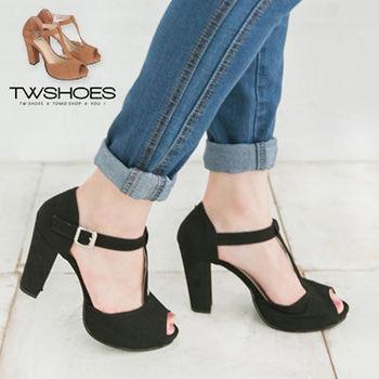 【TW Shoes】T字魚口粗跟高跟鞋【K121D2415】