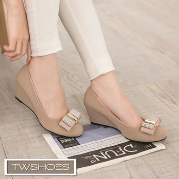 【TW Shoes】楔型鞋/優雅拼鑽蝶結楔型跟鞋(K120E3260)