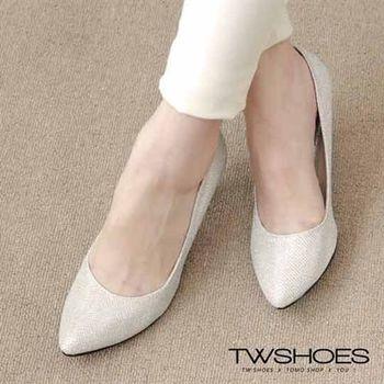 【TW Shoes】華麗金蔥尖頭高跟鞋【K120D3362】