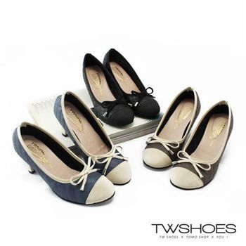 【TW Shoes】知性典雅蝴蝶結拼接菱格紋中跟包鞋【K130CE9019】