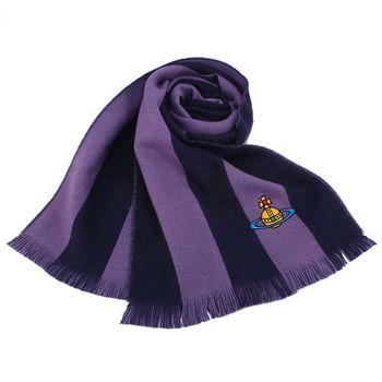 Vivienne Westwood 撞色條紋純羊毛圍巾-藍紫色