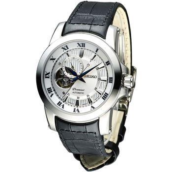 SEIKO Premier 24小時顯示開芯視窗機械皮帶男錶-白/黑(SSA213J2)