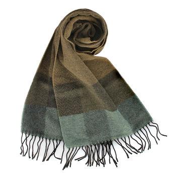 Vivienne Westwood 撞色幾何方格羊毛圍巾-綠色