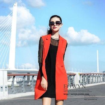 模特實拍歐洲站名媛範氣質挺括西裝馬夾連衣裙桔紅色/S/M/L/XL
