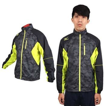 【MIZUNO】男風衣外套 - 防風 保暖 美津濃 立領外套 黑芥末黃  電繡LOGO