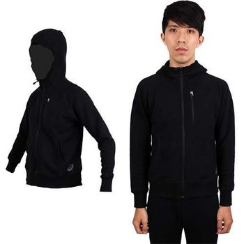 【ASICS】男運動外套 - 連帽外套 慢跑 路跑 亞瑟士 黑  棉質