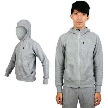 【ASICS】男運動外套 - 連帽外套 慢跑 路跑 亞瑟士 灰  棉質