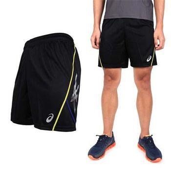 【ASICS】男排球練習短褲- 亞瑟士 黑藍黃  褲頭綁繩