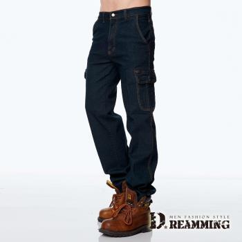 【Dreamming】型男美式伸縮多口袋直筒牛仔工作褲(黑色M-6L)  百搭單品