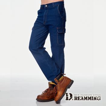 【Dreamming】型男美式伸縮多口袋直筒牛仔工作褲(藍色M-6L) 百搭單品