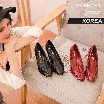【TOMO】《韓國直送 質感真皮》時尚知性仿鱷魚紋尖頭高跟鞋【K160D2967】