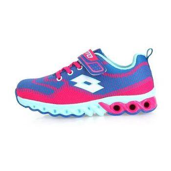 【LOTTO】男女中童編織避震跑鞋 -童鞋 路跑 慢跑 藍粉