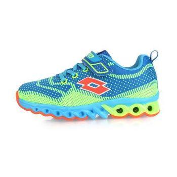 【LOTTO】男女中童編織避震跑鞋 -童鞋 路跑 慢跑 藍綠橘