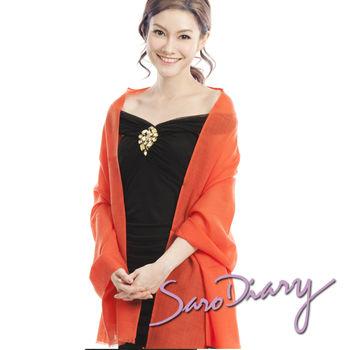 【莎蘿日記】100%純羊毛 超柔軟溫暖圍巾 (橘紅色w-08or)