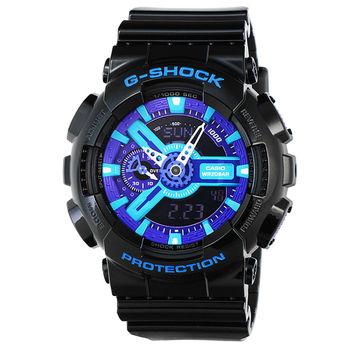 CASIO 卡西歐G-SHOCK 抗磁雙顯重機鬧鈴電子錶-黑紫 / GA-110HC-1A