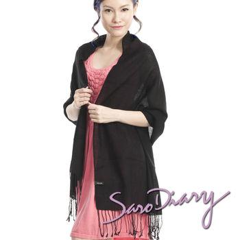 【莎蘿日記】100%純羊毛 超柔軟溫暖圍巾 (黑色長鬚W0-17BK)