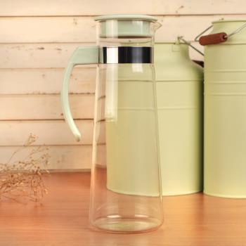 Artist精選 紫羅蘭耐熱玻璃冷熱兩用水壺1100ml-粉綠