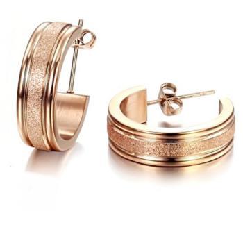 【I-Shine】心願-西德鋼圓圈磨砂 18K玫瑰金鈦鋼耳環