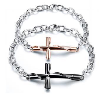 【I-Shine】愛情誓言-西德鋼-十字架造型鈦鋼情侶手鍊(對鍊組)