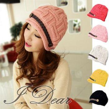 【I.Dear】韓系保暖帽 編織皮帶針織保暖毛線帽(5色)